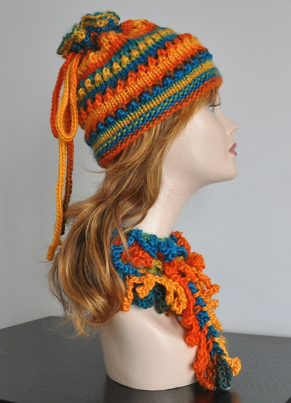 RESERVED - Summer Sale - Multicolor - Hand Knitted Hat  and Crochet Scarf 2pcs Set