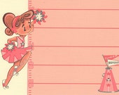 Girl Party Invitation Set of 12, Cheerleader in Pink, Pom Poms, Linen Card Stock by MissHollyLu