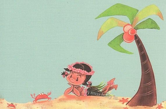 Girl Party Invitation Set Of 12 Hawaiian Hula Luau