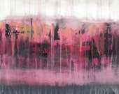 STUDIO SALE - Original abstract painting 18x24 canvas, magenta, pink, white, purple, plum, black - Dreamstate by Jessica Torrant