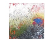 6x6 original abstract texture painting on gallery wrapped box canvas - Come to Life