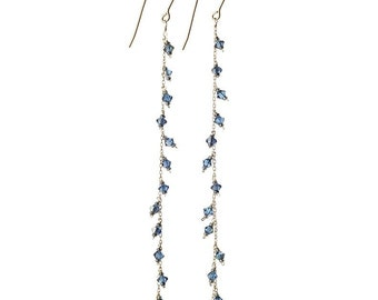 Long Dangling Swarovski Crystal Earrings in Blue Zircon and Sterling Silver