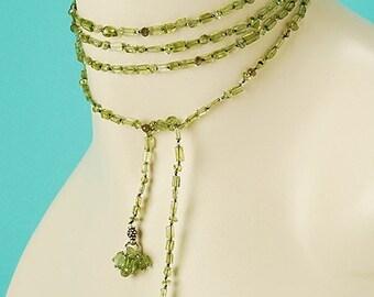 Green Peridot Lariat with Sunburst Endings