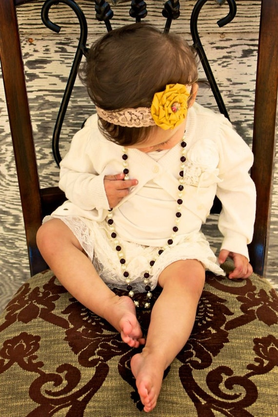 BABY RUTH - mustard yellow and beige lace rose headband