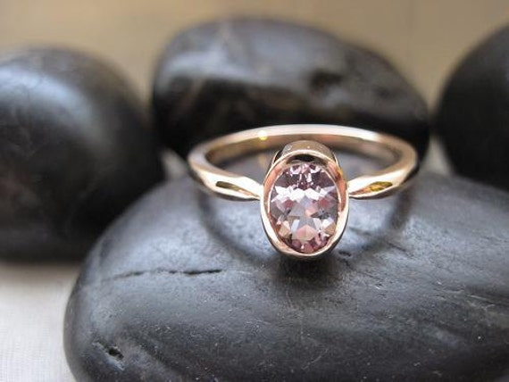 Oval Morganite Solitaire Ring in 14K Solid Rose Gold