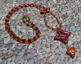 Polymer Clay Pendant Beaded Necklace - Hope Hearts Red Diamond