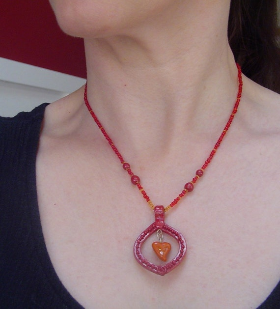 Polymer Clay Pendant Beaded Necklace - Hope Hearts O-Rose