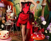 GYPSY - Red Black Burlesque Corset Costume Victorian Wedding prom saloon dress
