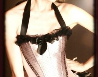 APHRODITE 2XL, 3XL Burlesque Showgirl Paris Corset Costume -Black Pink