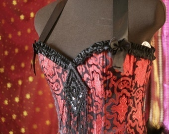 PALOMINO  Burlesque Showgirl Plus Size Corset Costume Red Black brocade 2XL, XXL