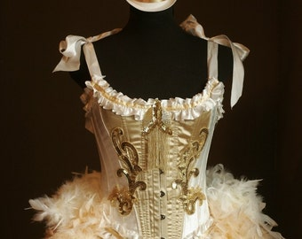 OLYMPIAN Burlesque Corset Costume white gold 1920S Saloon dress with ACCESSORIES
