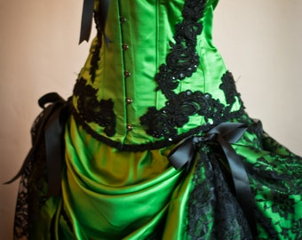 GREEN GYPSY Steampunk dress Black Burlesque Saloon Girl Corset Costume