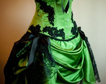 GREEN GYPSY Burlesque Costume Corset prom dress for Great Gatsby 1920s party