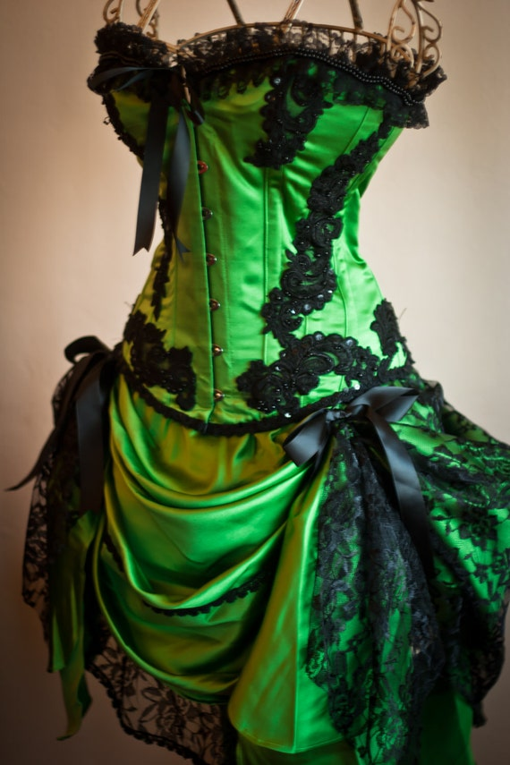 GREEN GYPSY Steampunk dress Black Burlesque Saloon Girl Corset Costume