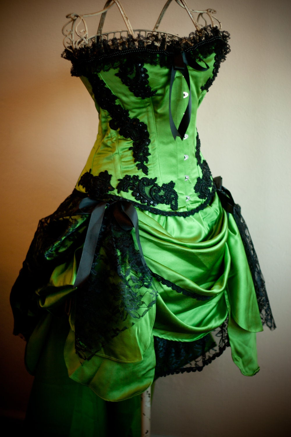 Green Gypsy Burlesque Costume Corset Prom Dress For By