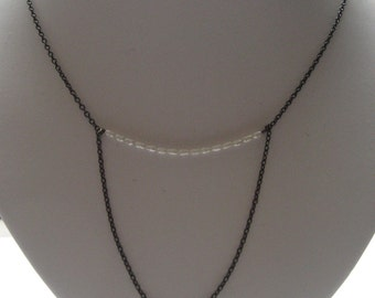 Oxidized silver chain with pearls