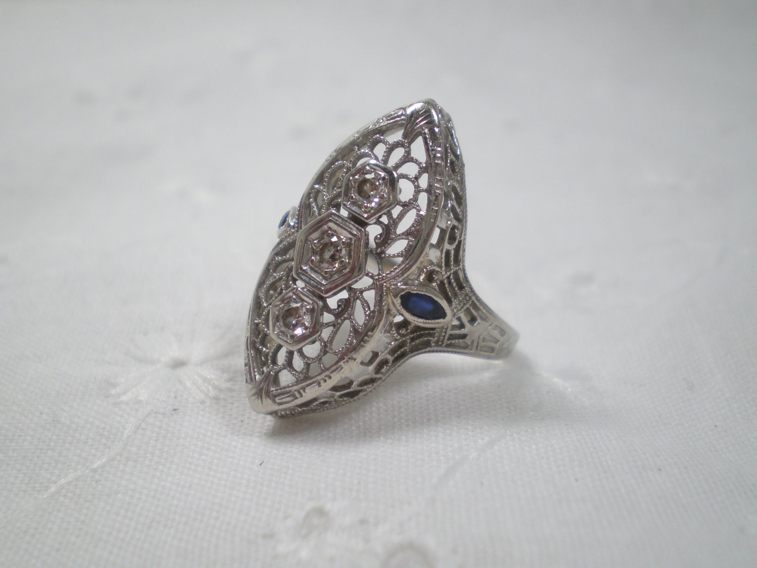 Vintage Diamond And Sapphire Filigree Ring Engagement Ring