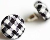 Black and White Mini Buffalo Plaid Fabric Button Earrings