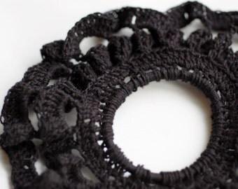 Elaborate Black Lace Hair Tie OOAK