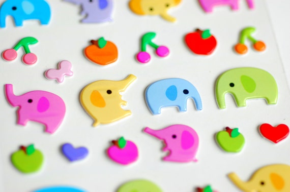Elated Elephant Raised Stickers - LAST ONE