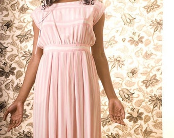 Authentic Mint Vintage Albert Nipon Pink and White Striped Pure Silk Dress (sz 10 petite)