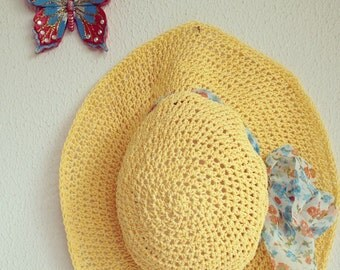 Crocheted natural raffia Tangerine Yellow Solar Power Summer Sun Hat With Organza Flower Fabric
