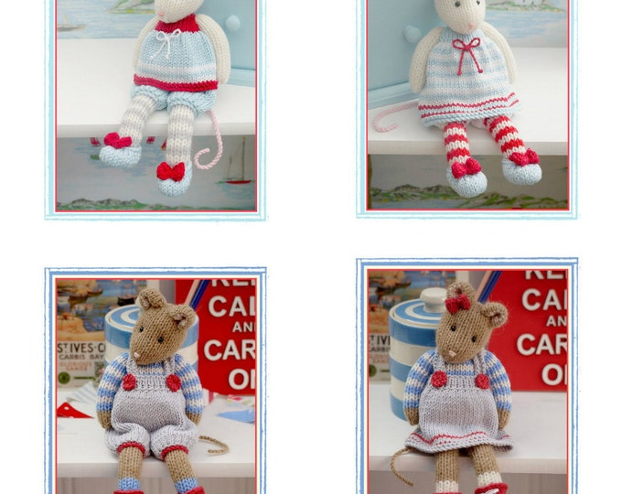 MJT Mice 2 Knitting Pattern Deal/ 'Tearoom Mice' & 'Cornish Mice' Pdf Toy Knitting Patterns plus Free 'Mimi Mouse' project/ INSTANT Download
