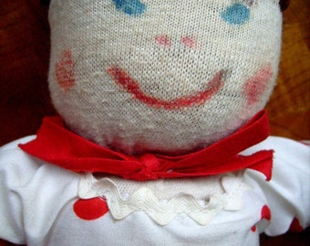 Vintage Sock Doll Red Polka Dots Handmade Fabric Doll