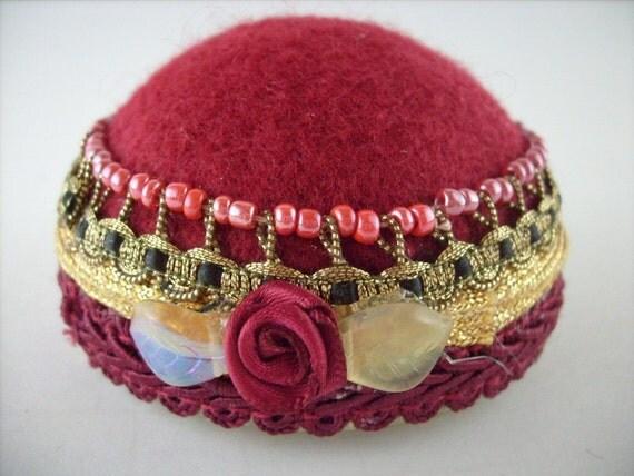 Art Deco, Flapper Hat Style Pincushion, Hat Pin Stand, Jewelry Display, Stick Pins, Pinkeep. Maroon Rosette