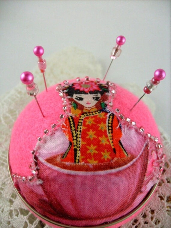 Art Deco, Flapper Hat Style Pincushion, Jewelry Stand, Stickpins, Pinkeep - Girl in Teacup