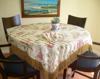 handmade vintage style tablecloth and napkins for formal dining room