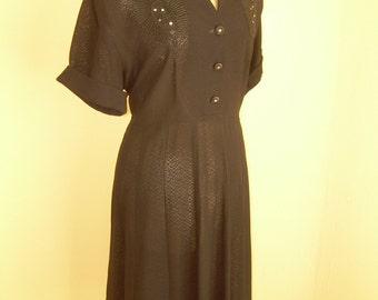 Vintage 1940s Black Dress , Pristine,  Beaded Rayon,nos