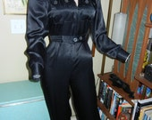 Young Edwardian black satin jumpsuit Rare