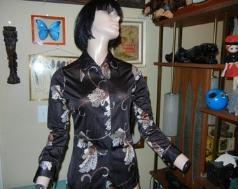 Hipster black patterned polyester top  long sleeve collared  by Alfie