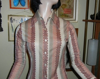 long sleeve polyester striped shirt earth tones