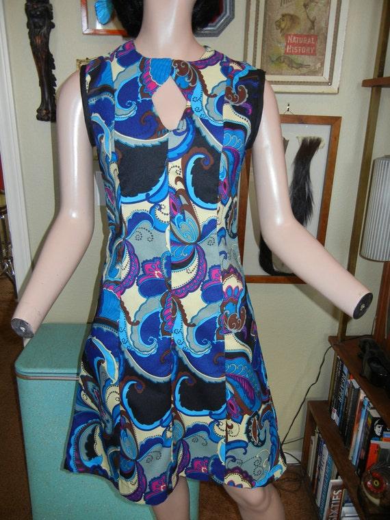 Blue paisley dress with keyhole neckline