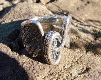 Wings of Freedom Bike Ring - Large Sterling Silver Ring - 205