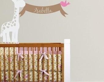 Baby Name Decal - Giraffe Wall Decal - Banner Name Decal - Bird Wall Decal - Safari Stickers - Nursery Decor