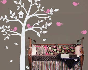 Sweet Birds Tree Wall Decal - Baby Nursery Children - Large Mural Vinyl Decal - Boy Girl