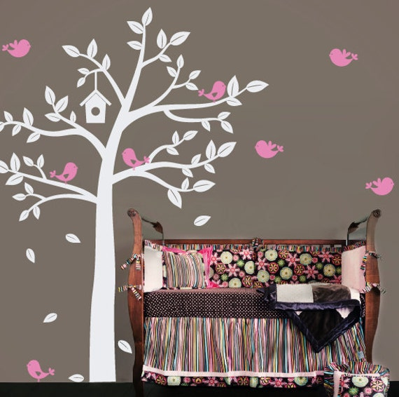 Sweet birds tree wall decal baby nursery by tweetheartwallart for Baby nursery tree mural