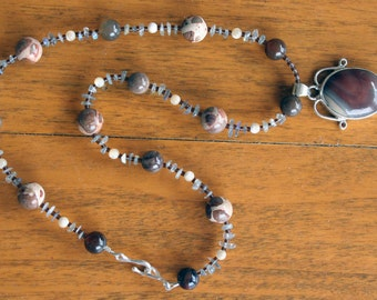 ANIMAL INSTINCT Necklace (Rhyolite, Safari Jasper, Labradorite, Wooden Agate, Mother of Pearl)