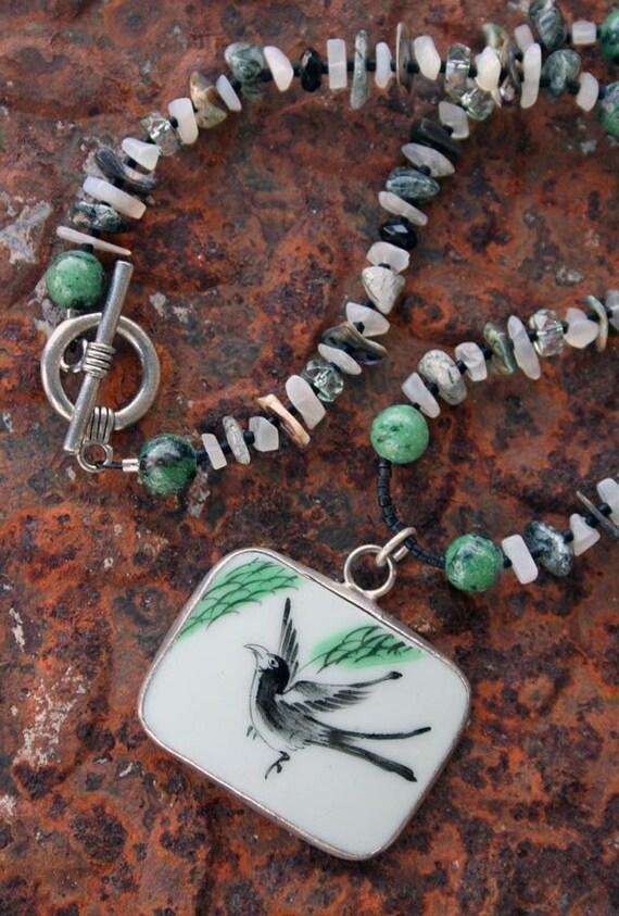 BLACKBIRD Necklace (Hand-painted porcelain, Ruby Zoisite, Moonstone, Onyx, Tourmalinated Quartz, Paua Shell)
