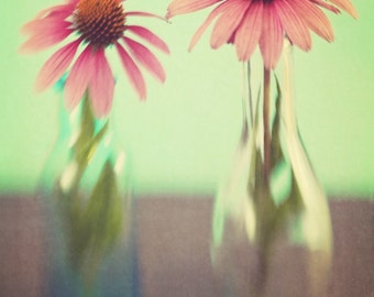Pink and Green Floral Photography - Pastel Mint Wall Art