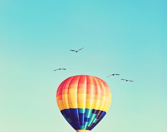 Fly - 8 x 10 Fine Art Photograph - whimsical turquoise multicolored hot air balloon home decor