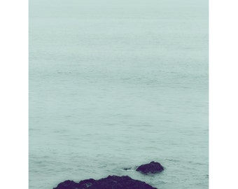 Serene Seas - Fine Art Photograph - green blue teal turquoise ocean rocks minimalist home cottage decor print