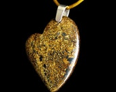 Bronzite Heart Pendant Necklace with Sterling Silver Bail & Gold Satin Cord