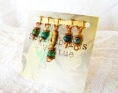 Sock Knitting Stitch Markers - Copper, Jasper, and Jade  (Set of 5)