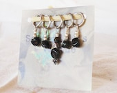 Knitting Stitch Markers - Black Tourmaline & Silver Hexagons (Set of 5)