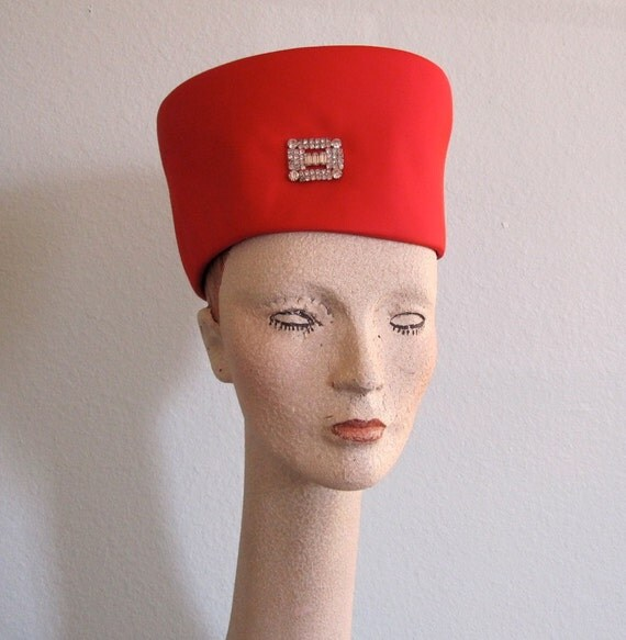 RESERVEDVintage 1950s Hat - Red Satin Majorette Hat with Rhinestone Brooch - Elegant 50s Hat RESERVED