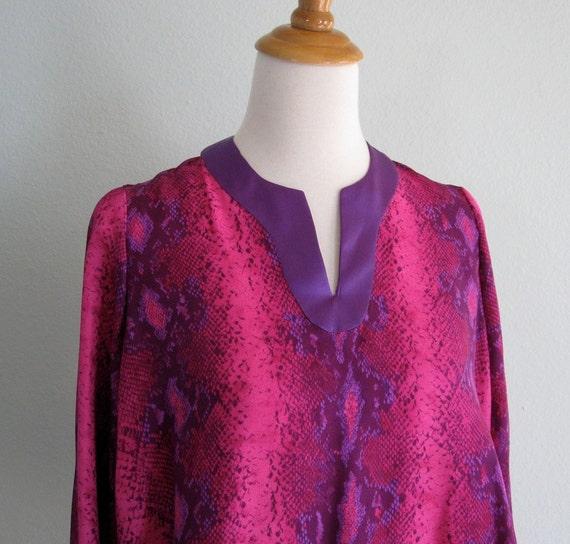 Vintage 80s Blouse - Pink and Purple Snakeskin Print Silk Top M